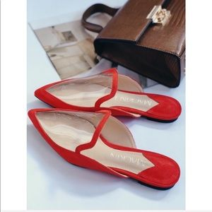 Shoes - 🆕Tia Red & Clear PVC Pointy Toe Mules Slides